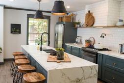 32个简洁现代材质一体的厨房中岛