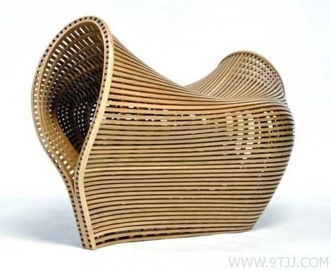 白橡木条弯曲椅